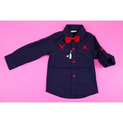 Елегантна риза с кърпичка и папионка