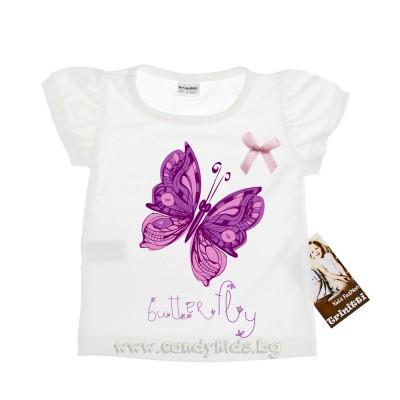 Красива тениска Пеперуда за момиче