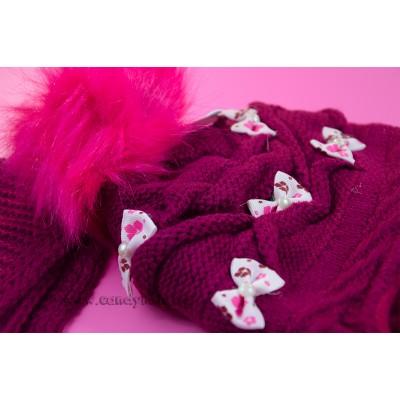 Комплект шапка, шал и ръкавици бордо