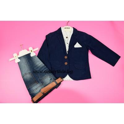 Елегантен комплект с дънки и сако