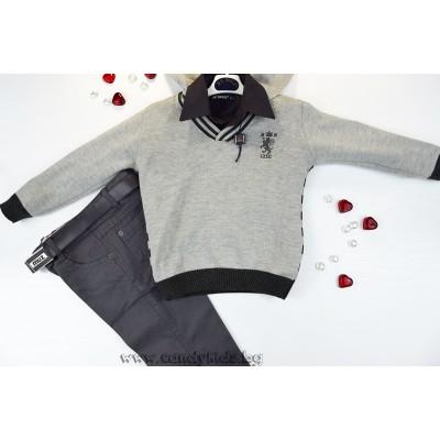 Модерен комплект за момче в сиво
