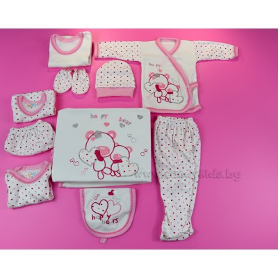 Сладък комплект за изписване мечета със сърчица в розово