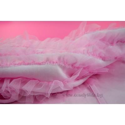 Красива пелена одеалце с тюл розова