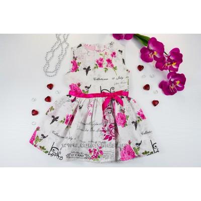 Красива лятна рокля с цикламена панделка