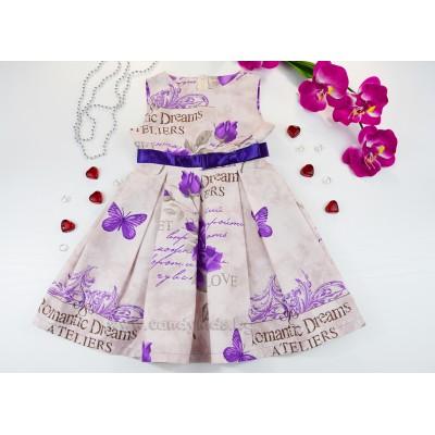 Красива лятна рокля с лилава пандела