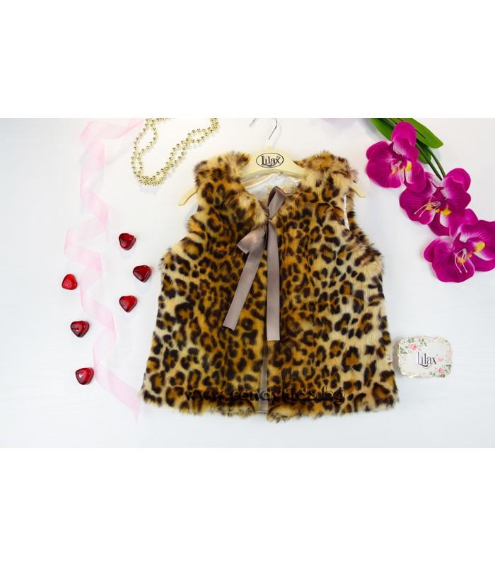 Луксозен къс леопардов елек