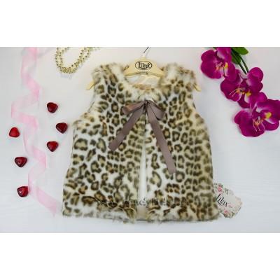 Луксозен къс елек светъл Леопард